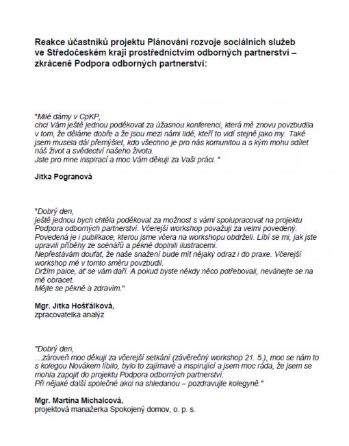 Reference Podpora odborných partnerství 1